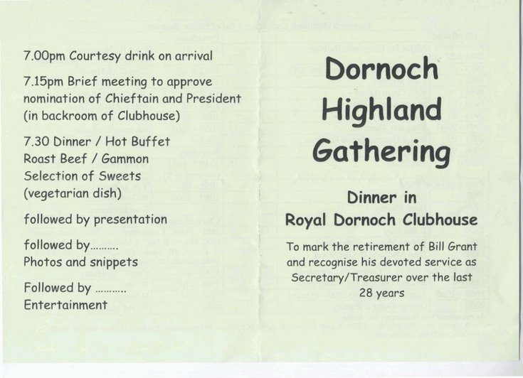 Dornoch Highland Gathering Dinner 2008