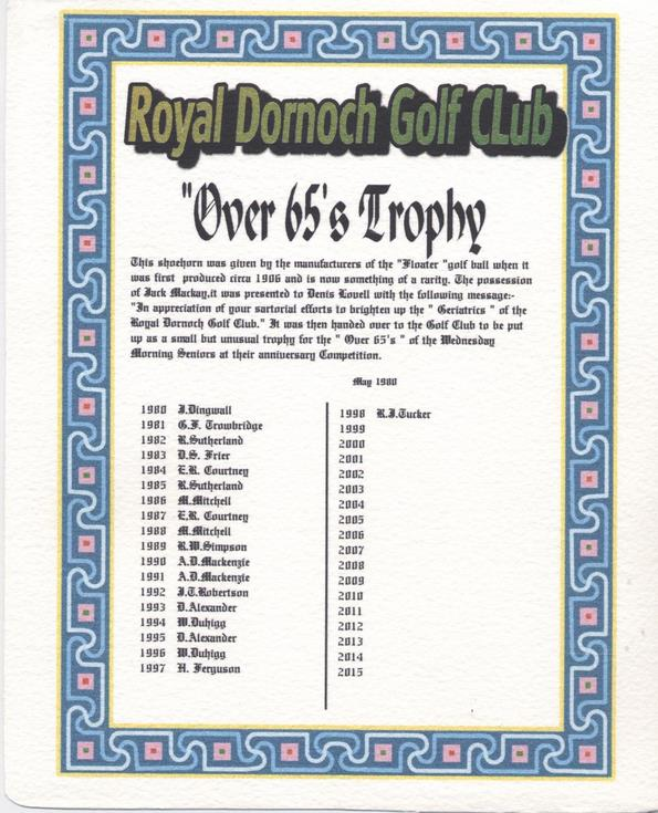 Shoehorn golf trophy history