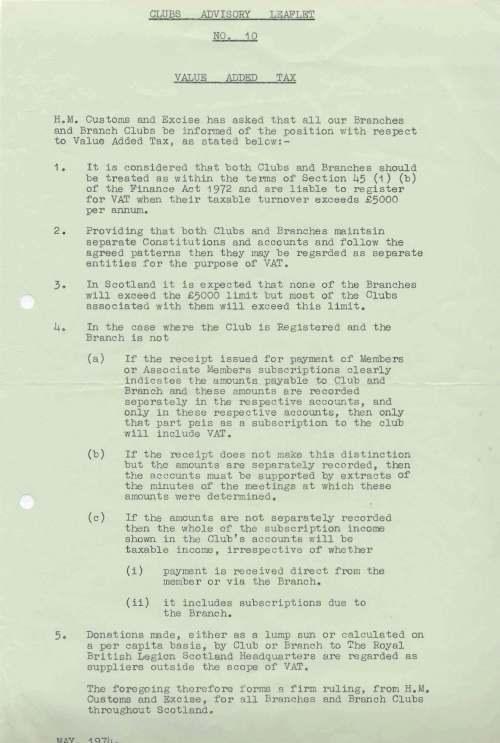 British Legion Correspondence - Advisory leaflet VAT