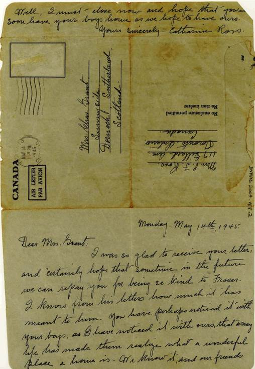 Wartime letter to Mrs Grant