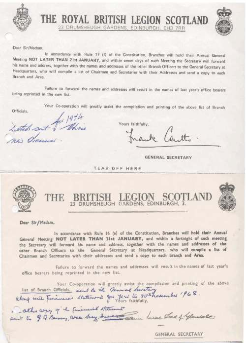 British Legion Correspondence - Annual General Meeting