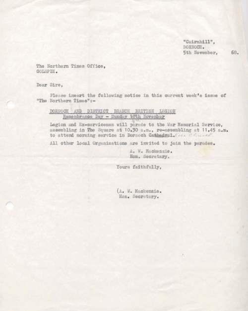 British Legion Correspondence - Remembrance Day