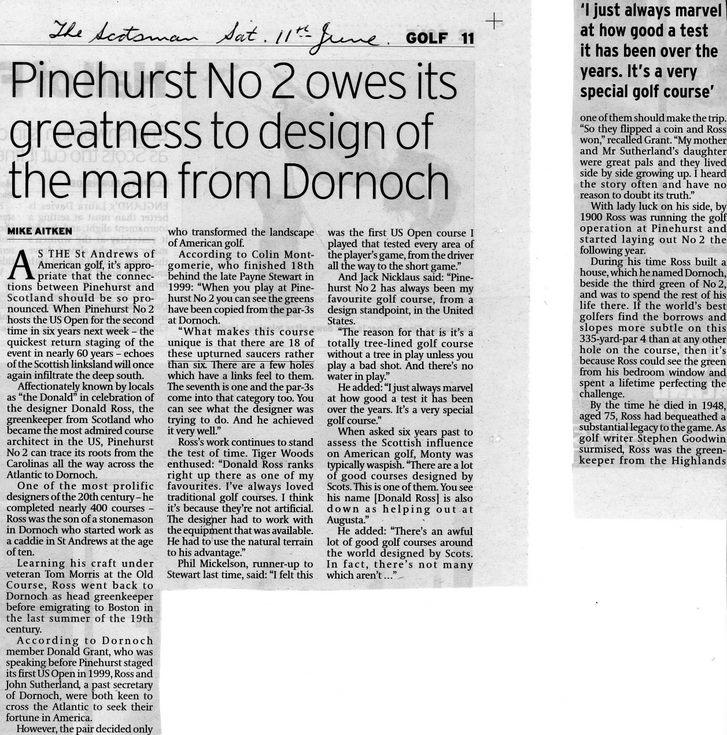 Pinehurst No 2 owes it greatness to man from Dornoch