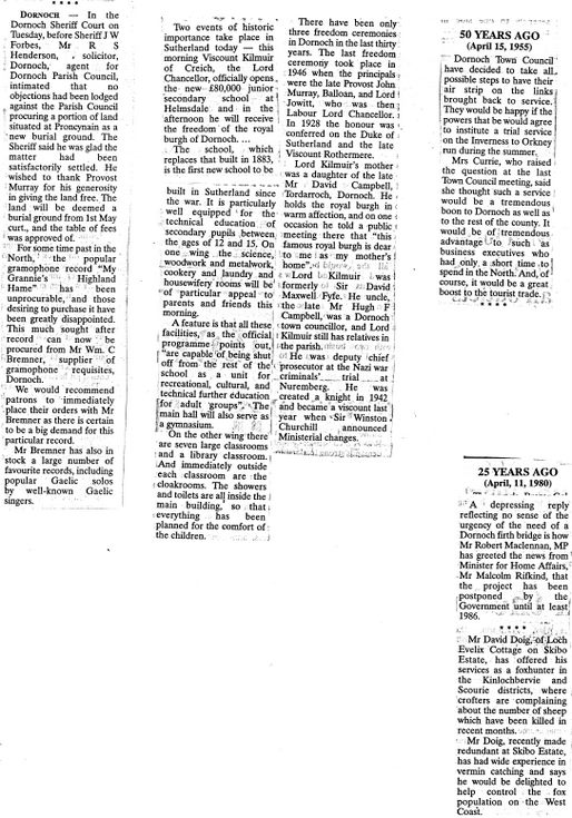 Newspaper cuttings Northern Times 'Times Past'