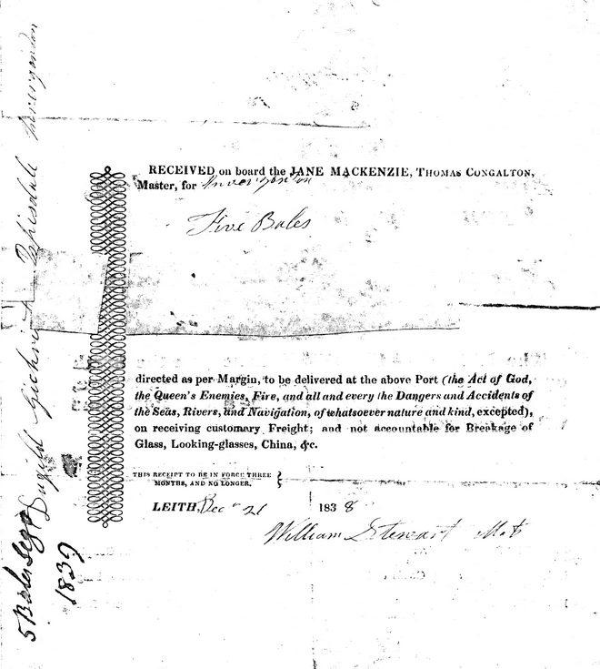 Marine Cargo receipt 1838
