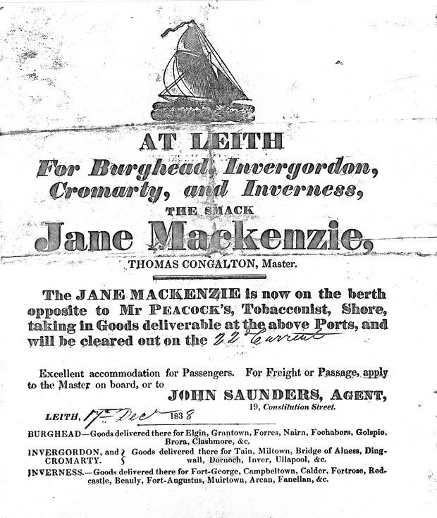 Poster advertising voyage of 'Jane Mackenzie'