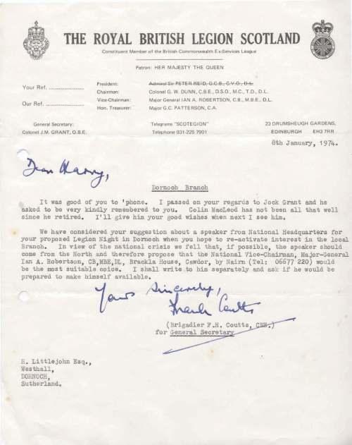 British Legion Correspondence - Visits