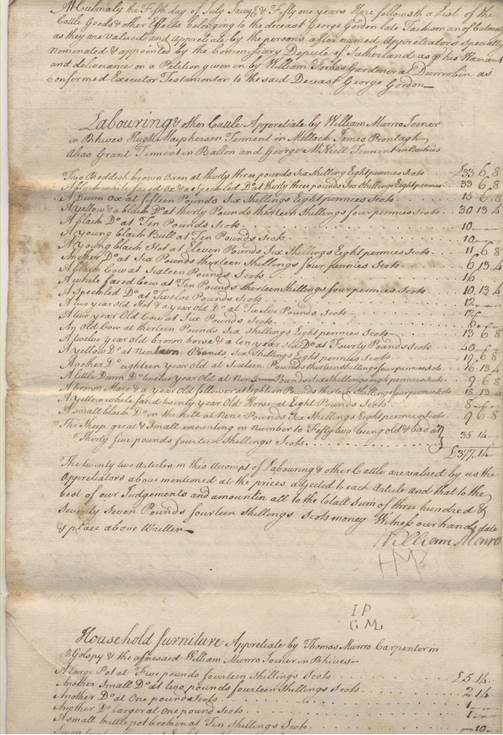 Inventory of the Cattle goods and other effects of George Gordon of Culmaily.