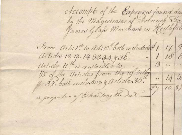 Account of expenses James Glass to Dornoch Town Council