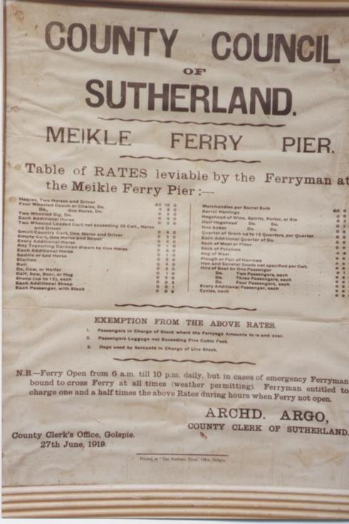 Table of Meikle Ferry rates leviable by the ferryman