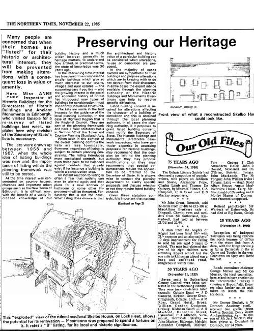 Newspaper articles Skelbo Castle