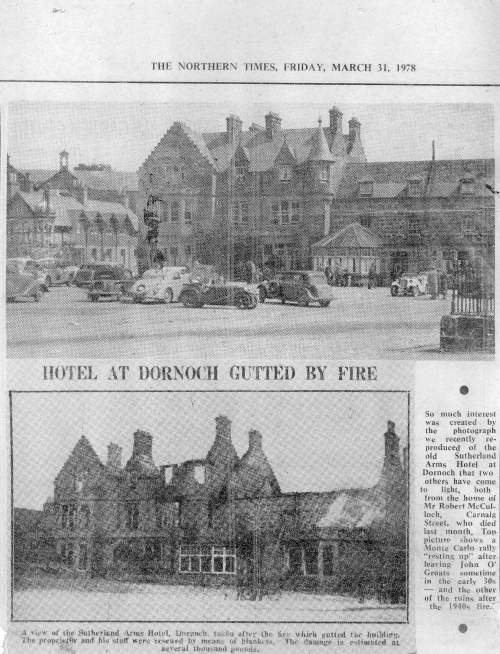 1978 Press cutting about Sutherland Arms Hotel before and after fire.