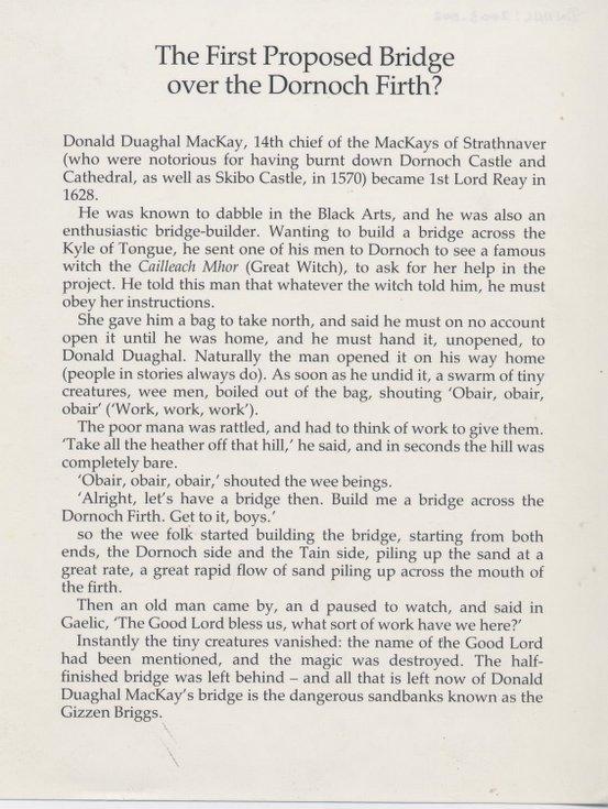First proposed Dornoch Firth bridge - story of Gizzen Briggs