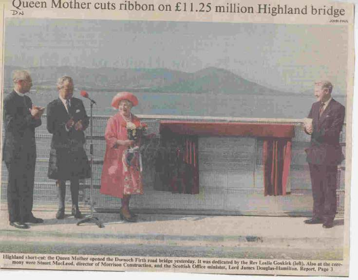 Newspaper cutting of the opening of the Dornoch Bridge