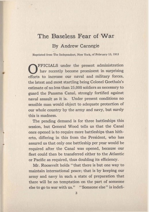 The Baseless Fear of War by Andrew Carnegie