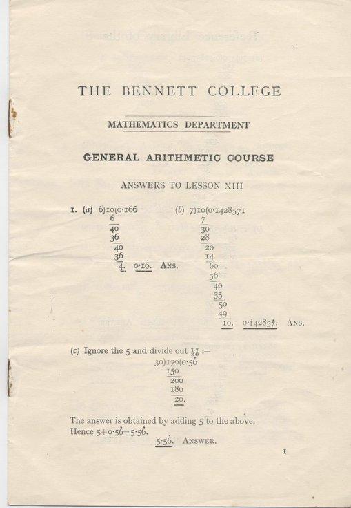 Answer sheet for mathematics exam (Bennett College);