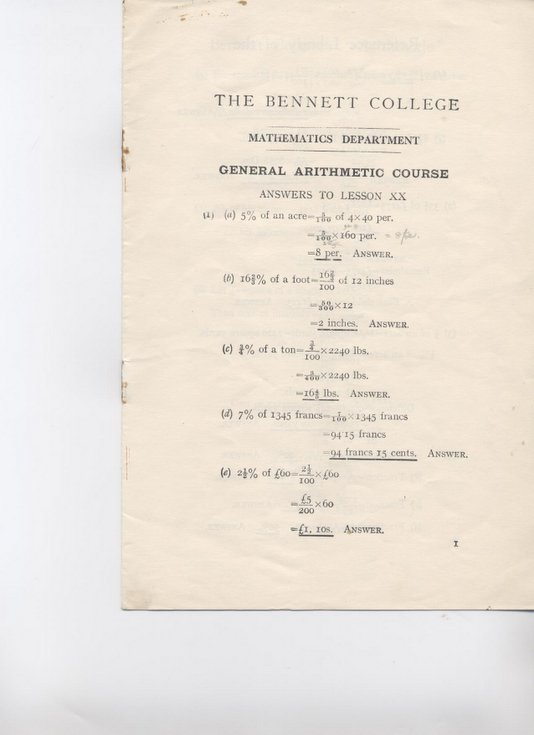 Answer Sheet to mathematics exam (Bennett College);