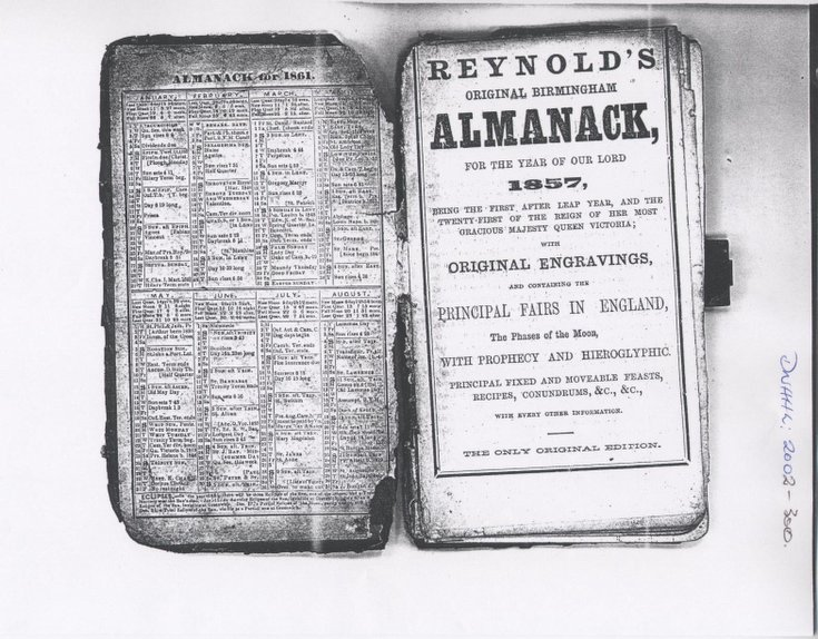 Photocopies of pages from 1857 Reynolds Almanack