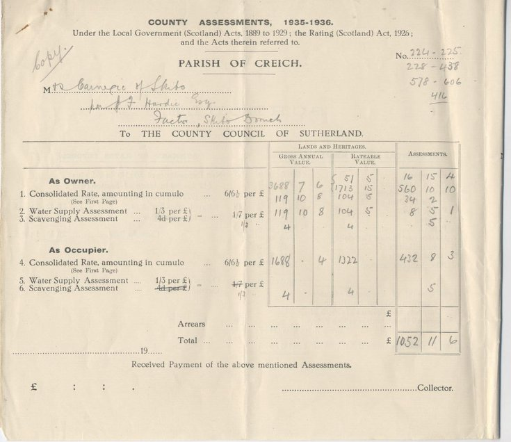 Rates Assessment for Skibo Estate 1935 - 1936