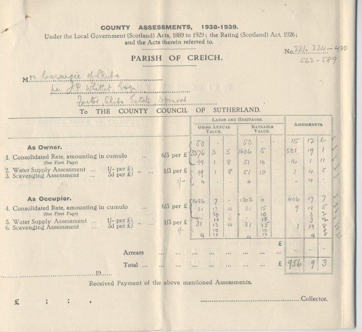 Rates Assessment for Skibo Estate 1938 - 1939