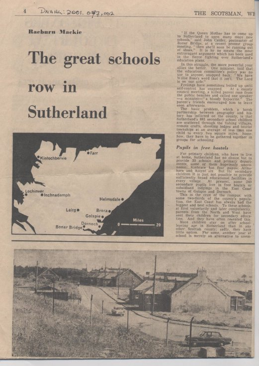 Proposed downgrading of Dornoch Academy 1968
