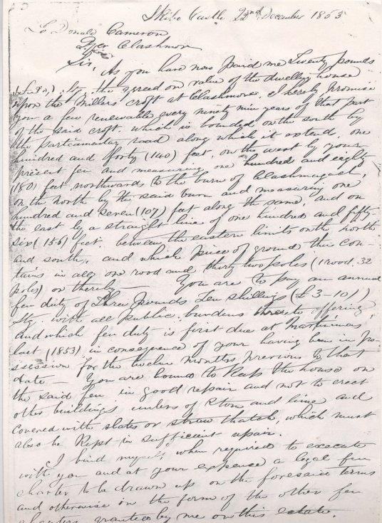 Letter from George Dempster to Donald Cameron 1853