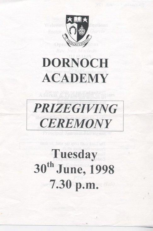 Dornoch Academy Prizegiving 1998