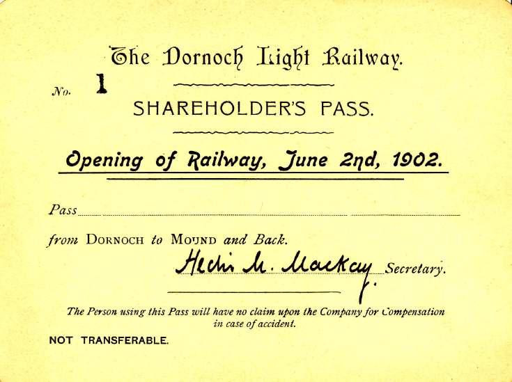 Dornoch Railway shareholder's pass