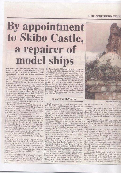 Skibo Castle restoration of model ship by Donald Macleod