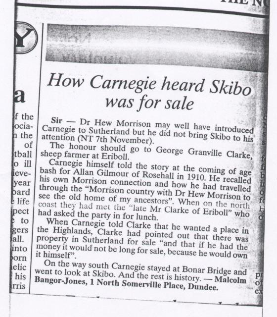 How Carnegie heard Skibo was for sale