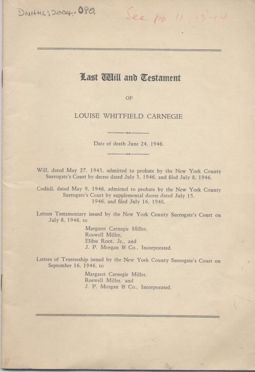 Will of Louise Whitfield Carnegie