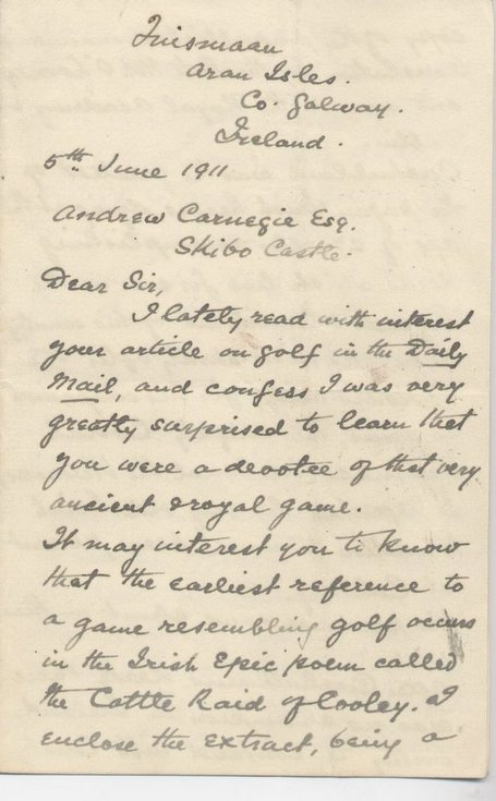 Letter to Andrew Carnegie seeking unwanted golf clubs