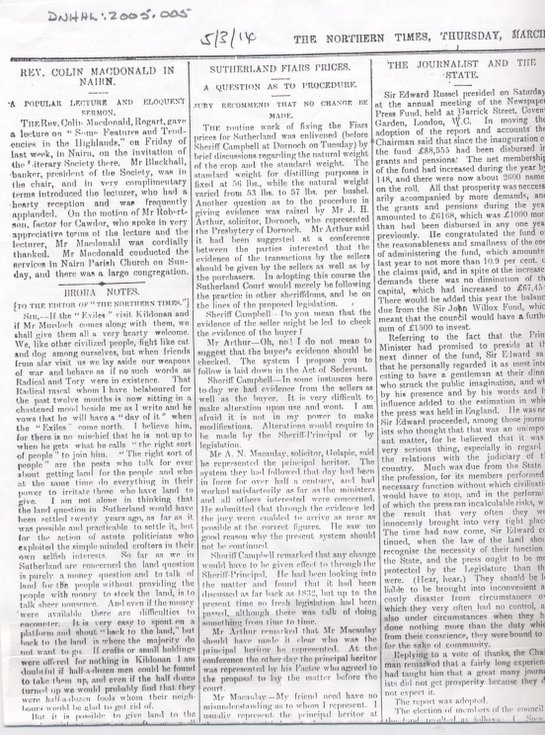Grain prices at Skelbo and Cambusavie 1914