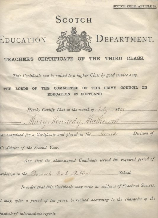 Teacher's Certificate 1898