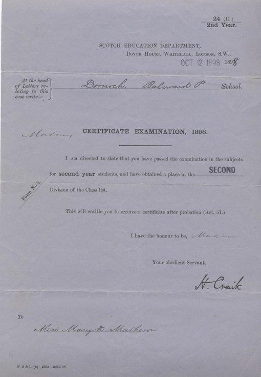Certificate Examination 1898