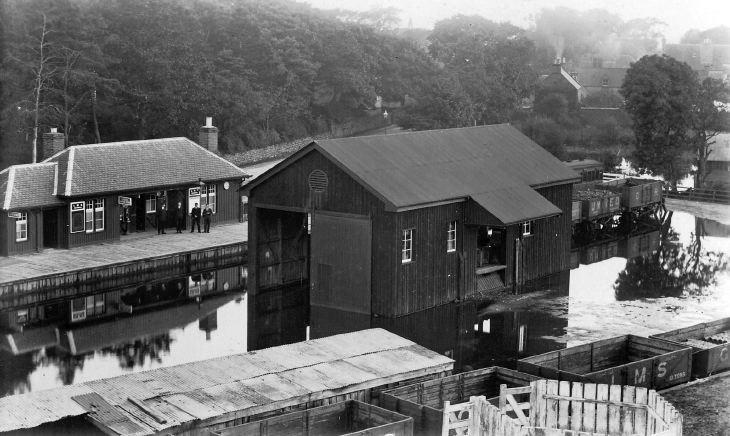 Photograph of Dornoch Railway Station flooded