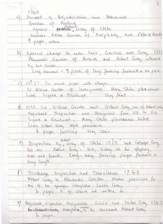 Notes on Skibo 1727 - 1743