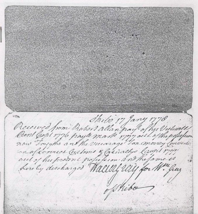 Skibo Rent Receipts 1770 -1806