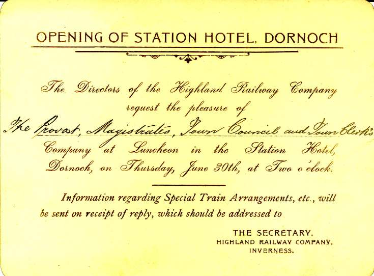 Invitation to opening of Station Hotel