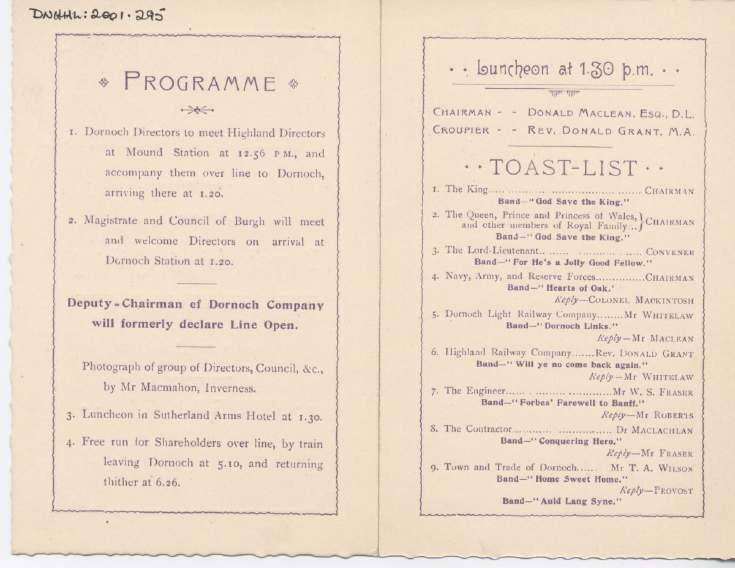 Programme for opening of Dornoch Light Railway