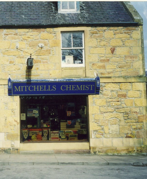 Post 2002 Mitchell's Chemist Shop sign, Dornoch