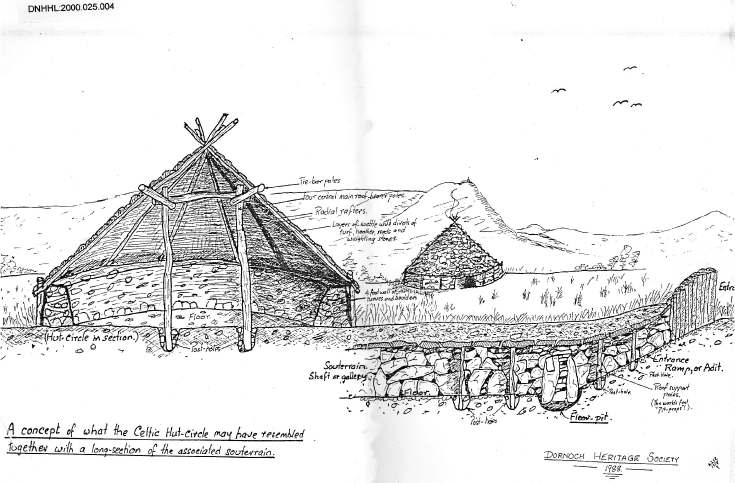 Hut circle and souterrain
