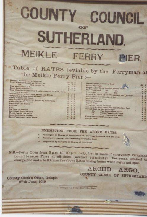Meikle Ferry tariffs 1919