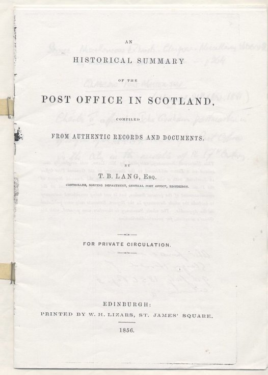 Historical Summary of the Post Office in Scotland