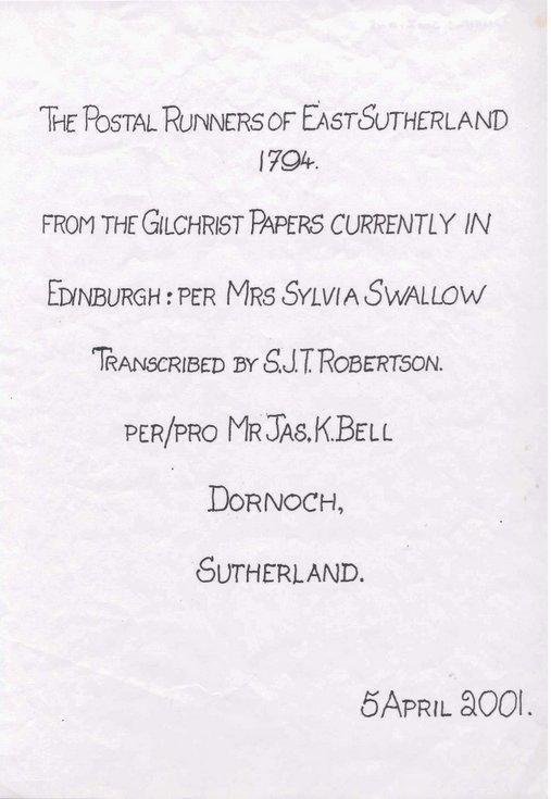 Postal Runners of East Sutherland 1794