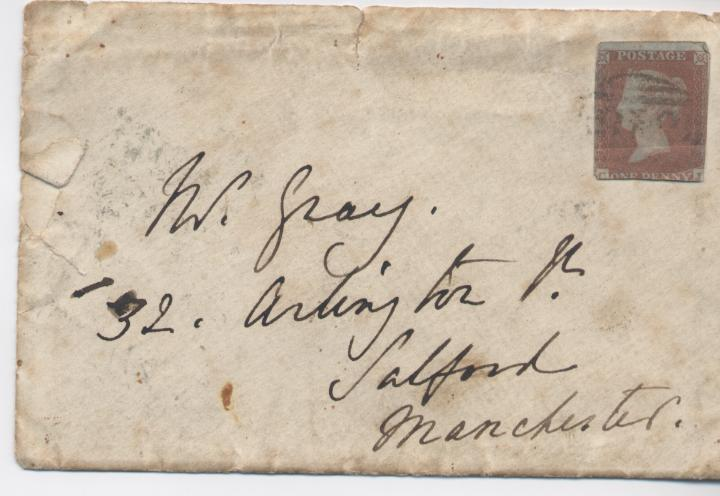 Envelope with imperforate Queen Victoria Stamp 1841