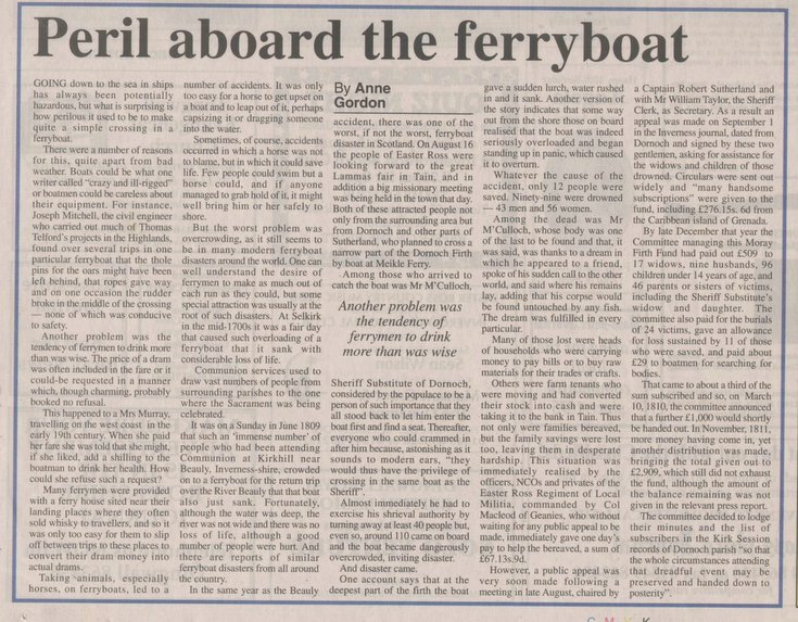 Meikle Ferry - 'Peril aboard the ferryboat'