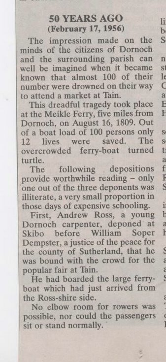 Meikle Ferry Disaster - Northern Times extract 1956