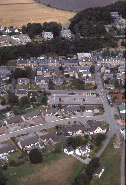 Aerial photograph of Dornoch - the Meadows car park