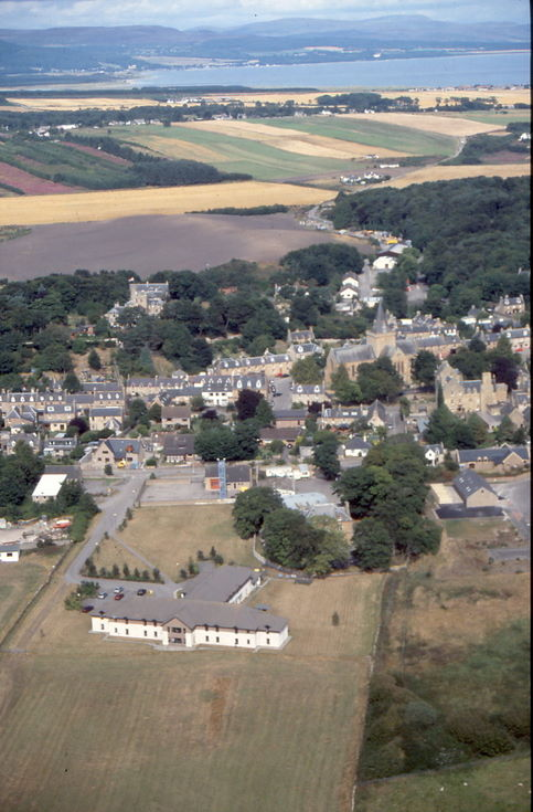 Aerial photograph of Dornoch - 'The Meadows' bottom centre